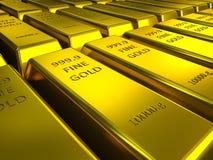 File delle barre di oro Fotografie Stock Libere da Diritti