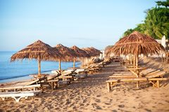 File delle chaise longue di bambù vuote e degli ombrelli ricoperti di paglia sulla spiaggia di sabbia bianca sola, sul mare blu e immagine stock libera da diritti