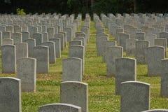 File delle lapidi in un cimitero 1 Fotografia Stock