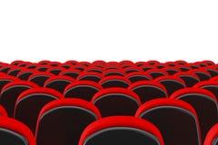 File delle sedie comode del cinema rosso del cinema renderin 3D Immagine Stock Libera da Diritti
