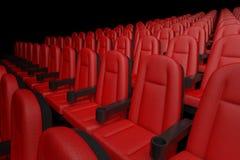 File delle sedie comode del cinema rosso del cinema renderin 3D Fotografia Stock