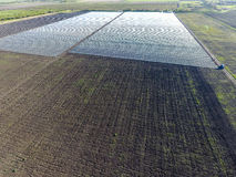 File delle serre trasparenti nel campo Verdure crescenti in una terra chiusa Serre nel campo Fotografie Stock Libere da Diritti