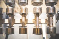 File delle teste di legno del metallo sullo scaffale nella palestra, Immagini Stock