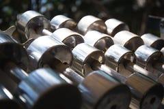 File delle teste di legno del metallo sullo scaffale nella palestra, Fotografia Stock