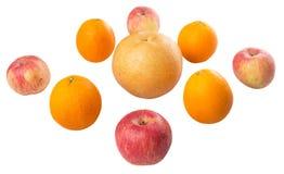 File di Gala Apples, delle pere asiatiche e dell'arancia I Fotografie Stock Libere da Diritti