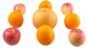 File di Gala Apples, delle pere asiatiche e dell'arancia II Immagine Stock
