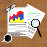 File with diagram marketing. Vector research report economy illustration Royalty Free Stock Photography