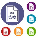 File DLL icons set Royalty Free Stock Photography