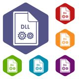 File DLL icons set. Rhombus in different colors isolated on white background Stock Photography