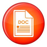 File DOC icon, flat style. File DOC icon in red circle isolated on white background vector illustration Royalty Free Stock Photo