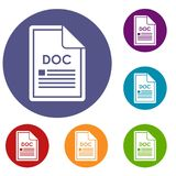 File DOC icons set. In flat circle reb, blue and green color for web Stock Photos