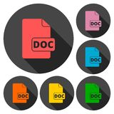 File Doc icons set with long shadow Stock Image