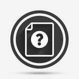 File document help icon. Question mark symbol. Royalty Free Stock Photo