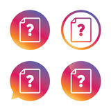 File document help icon. Question mark symbol. Royalty Free Stock Images