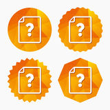 File document help icon. Question mark symbol. Stock Photo