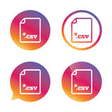 File document icon. Download CSV button. File document icon. Download tabular data file button. CSV file extension symbol. Gradient buttons with flat icon Royalty Free Stock Photography
