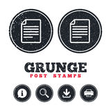 File document icon. Download doc button. Grunge post stamps. File document icon. Download doc button. Doc file symbol. Information, download and printer signs Royalty Free Stock Photos