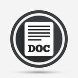 File document icon. Download doc button. Doc file symbol. Circle flat button with shadow and border. Vector Royalty Free Stock Photo