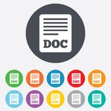 File document icon. Download doc button. Doc file symbol. Round colourful 11 buttons Royalty Free Stock Photos