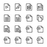 File document icon set. Simple Set of Document Flow Management Vector Line Icons Royalty Free Stock Images