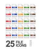 File and Document Icons. Set of 25 file and document icons featuring: PDF, PSD, EPS, JPG and GIF formats Royalty Free Stock Photos