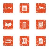 File document icons set, grunge style. File document icons set. Grunge set of 9 file document vector icons for web isolated on white background Royalty Free Stock Photo