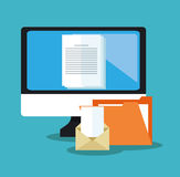File document and laptop design. File document and computer icon. Archive office and technology theme. Colorful design. Vector illustration Royalty Free Stock Image