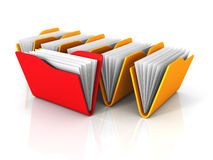 File Document Office Folders On White Background. 3d Render Illustration Stock Photos