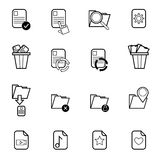 File document operation icons set vector illustration. Set of computer file document in different action, cut ,copy,paste for use in application design Royalty Free Stock Image