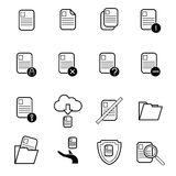 File document operation icons set vector illustration. Set of computer file document in different action, cut ,copy,paste for use in application design Royalty Free Stock Photo