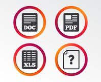 Document icons. XLS, PDF file signs. File document and question icons. XLS, PDF and DOC file symbols. Download or save doc signs. Infographic design buttons Stock Photography