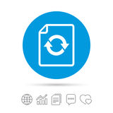 File document refresh icon. Reload doc symbol. Copy files, chat speech bubble and chart web icons. Vector Royalty Free Stock Image