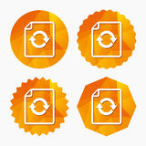 File document refresh icon. Reload doc symbol. Triangular low poly buttons with flat icon. Vector Stock Photo
