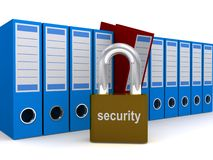 File or document security. Row of document jackets or small filing boxes with a large padlock in the foreground and the word security Stock Image