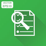 File document zoom icon. Business concept document pictogram. Vector illustration on green background with long shadow. vector illustration