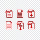 File download icon. Document icon set. PDF file download icon Royalty Free Stock Images