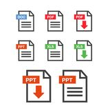 File download icon. Document text, symbol web format information. Document icon set Stock Image