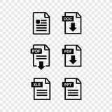File download icon. Document text, symbol web format information. Document icon set Royalty Free Stock Images