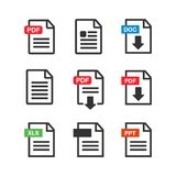 File download icon. Document text, symbol web format information. Pdf icon Stock Photos