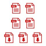 File download icon. Document text, symbol web format information. Pdf icon Royalty Free Stock Image