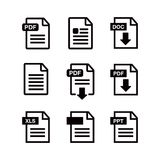 File download icon. Document text, symbol web format information. Document icon set Royalty Free Stock Photo