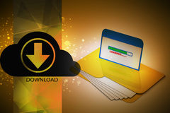 File downloading. In color background Stock Photography