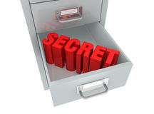 File drawer. One file drawer with the word: secret, on an open drawer (3d render Royalty Free Stock Photos