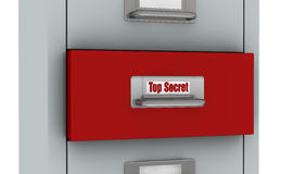 File drawer. One file drawer with the words: top secret, written on the label of a red drawer (3d render Royalty Free Stock Photos