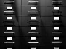 File drawer. Black file drawer in close up, 3d render Stock Photography