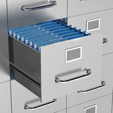 File drawer open. A file drawer is open with office documents on show Royalty Free Stock Photography
