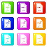 File DWG icons 9 set. File DWG icons of 9 color set isolated vector illustration Stock Photo