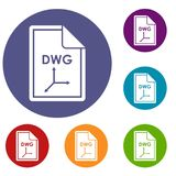 File DWG icons set Stock Images