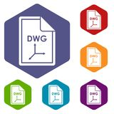 File DWG icons set. Rhombus in different colors isolated on white background Royalty Free Stock Photos