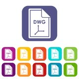 File DWG icons set. Vector illustration in flat style in colors red, blue, green, and other Royalty Free Stock Photography
